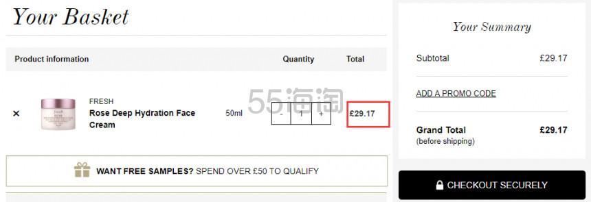 1瓶免费直邮!Fresh 馥蕾诗 玫瑰润泽密集保湿面霜 50ml £29.17(约246元) - 海淘优惠海淘折扣|55海淘网