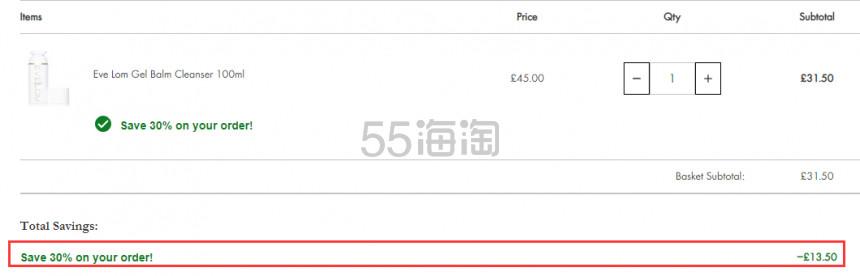 EVE LOM 卸妆啫喱 100ml £31.5(约269元) - 海淘优惠海淘折扣|55海淘网