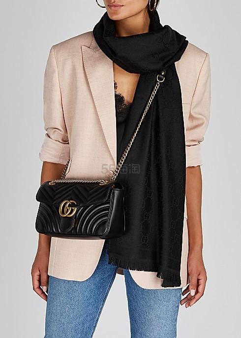 【澳门站定价优势】Gucci Small Leather Marmont Matelassé 26cm 小号单肩包