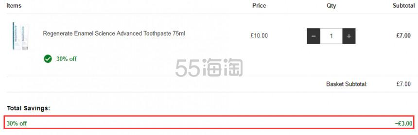 Regenerate 牙釉质美白牙膏 75ml £7(约59元) - 海淘优惠海淘折扣|55海淘网