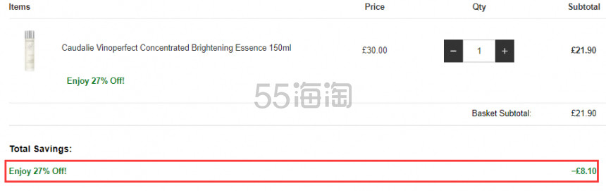 【55专享】Caudalie 欧缇丽 葡萄籽极致净白精华水 150ml £21.9(约186元) - 海淘优惠海淘折扣|55海淘网