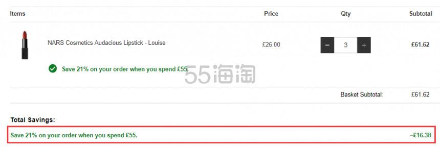 【可直邮】满£55享7.9折!NARS 纵欲惹火唇膏 Louise £20.54(约174元) - 海淘优惠海淘折扣 55海淘网