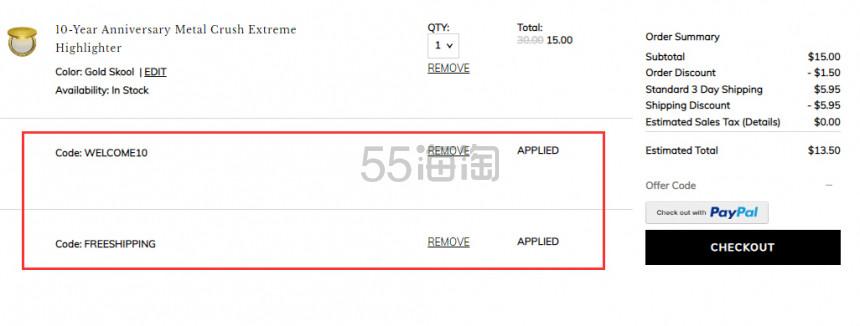 【美国免邮】Kat Von D  十周年限量金属高光 .5(约95元) - 海淘优惠海淘折扣|55海淘网