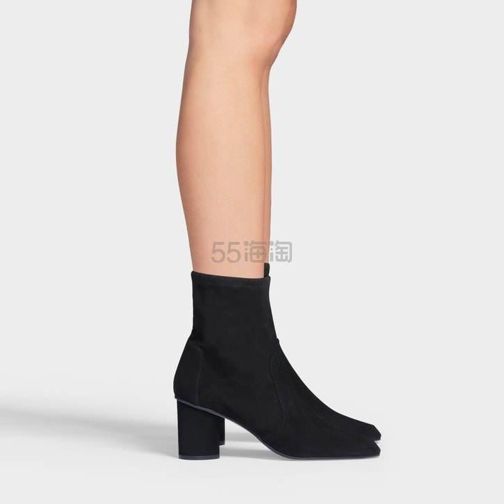 Stuart Weitzman 中跟麂皮黑色短靴 8(约2,028元) - 海淘优惠海淘折扣|55海淘网