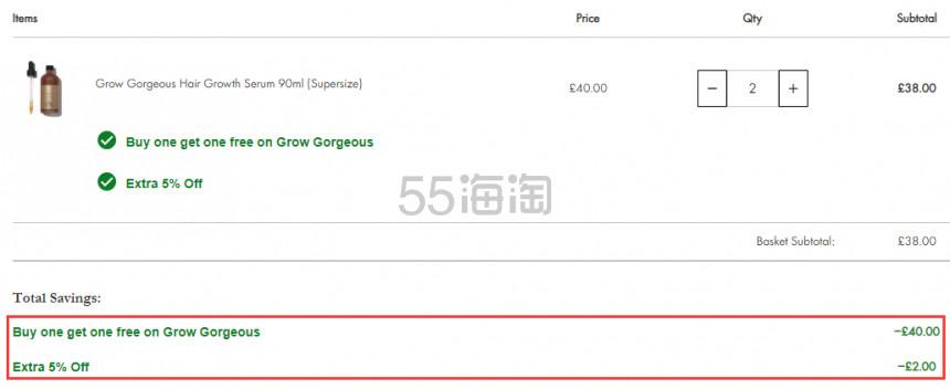 买1送1+额外9.5折!GROW GORGEOUS 生发防脱精华 大瓶装90ml £19(约162元) - 海淘优惠海淘折扣|55海淘网
