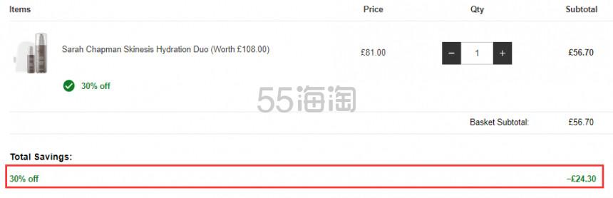 价值£108!Sarah Chapman 补水保湿精华 30ml + 终极洁面乳套装 100ml £56.7(约485元) - 海淘优惠海淘折扣|55海淘网
