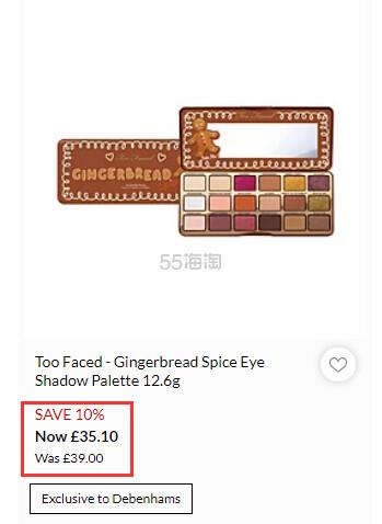 Too Faced 圣诞限量姜饼人眼影盘 £35.1(约301元) - 海淘优惠海淘折扣 55海淘网