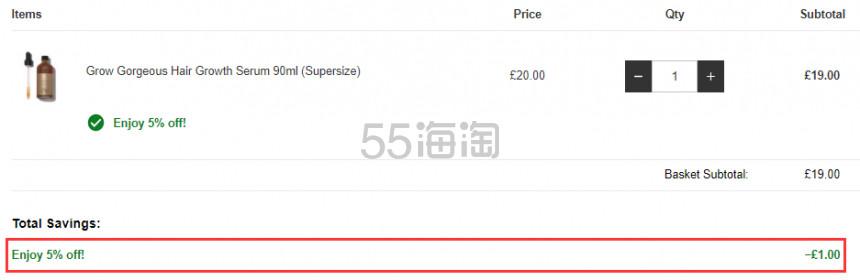 4.7折!GROW GORGEOUS 生发防脱精华 大瓶装90ml £19(约163元) - 海淘优惠海淘折扣|55海淘网