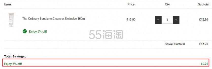 【限量加量装】The Ordinary 角鲨烷洁面乳 三倍容量150ml £13.2(约113元) - 海淘优惠海淘折扣|55海淘网