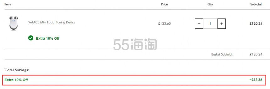 Nuface mini 家用提拉紧致美容仪 £120.24(约1,031元) - 海淘优惠海淘折扣|55海淘网