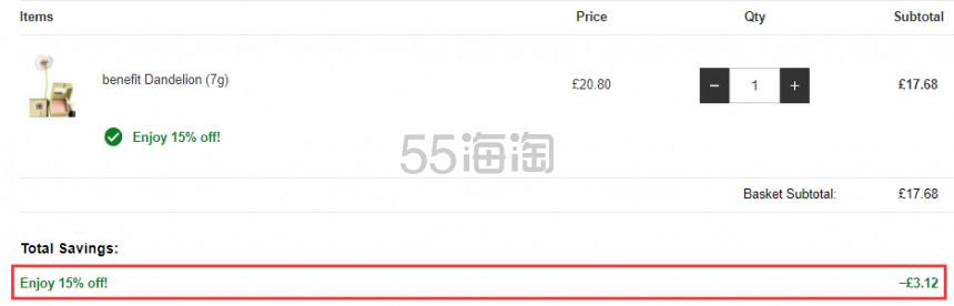 【可直邮】6.8折好价!Benefit 贝玲妃 蒲公英腮红蜜粉 £17.68(约155元) - 海淘优惠海淘折扣 55海淘网