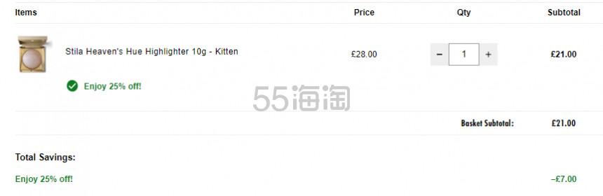 Stila 天堂幻彩高光 kitten 有货 £21(约181元) - 海淘优惠海淘折扣 55海淘网