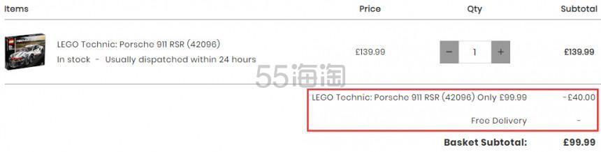 【补货】免邮!LEGO 乐高科技系列 保时捷 911 RSR (42096) £99.99(约861元) - 海淘优惠海淘折扣|55海淘网