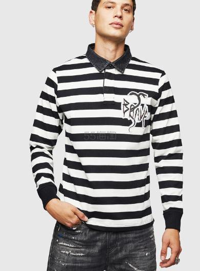 Diesel 黑白条纹针织 Polo 卫衣 8(约1,268元) - 海淘优惠海淘折扣|55海淘网