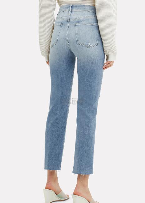 Frame 破洞中高腰直筒牛仔裤 (约704元) - 海淘优惠海淘折扣|55海淘网