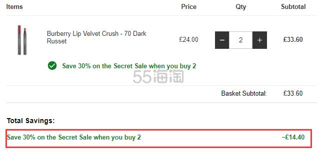 满2件7折!Burberry 巴宝莉 气垫唇釉 70号 Dark Russet £16.8(约148元) - 海淘优惠海淘折扣|55海淘网