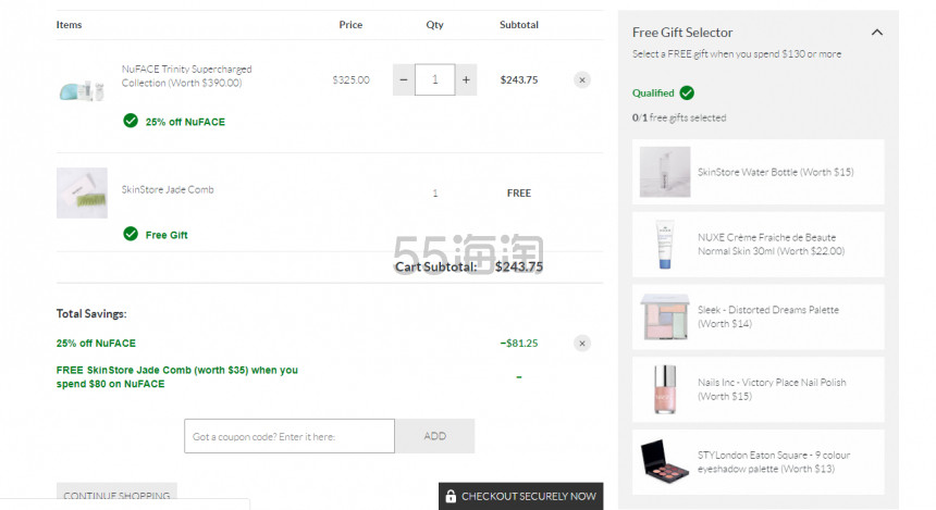 SkinStore:NuFace 米兰达可儿同款微电流紧致美容仪 无门槛7.5折+送双重好礼 - 海淘优惠海淘折扣|55海淘网