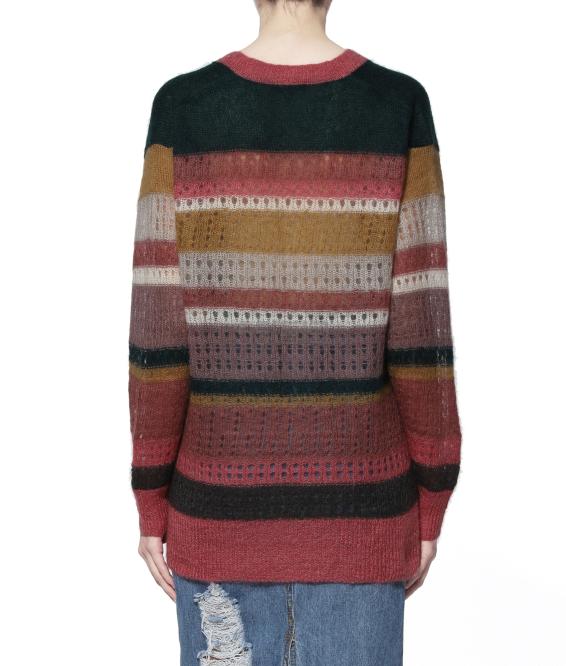 【满三件享往外9折】rag & bone 彩色条纹拼接 V 领毛衣