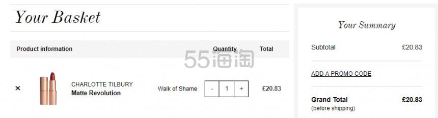 1支免费直邮!Charlotte Tilbury CT 哑光唇膏 Walk of Shame £20.83(约184元) - 海淘优惠海淘折扣|55海淘网