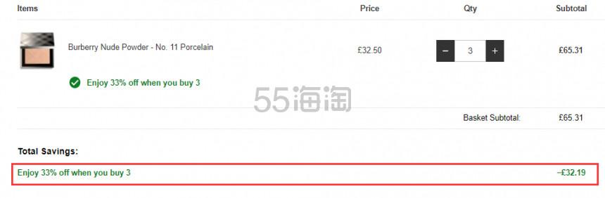 3件6.7折!Burberry 巴宝莉 裸妆感定妆蜜粉饼 11号Porcelain £21.77(约193元) - 海淘优惠海淘折扣|55海淘网