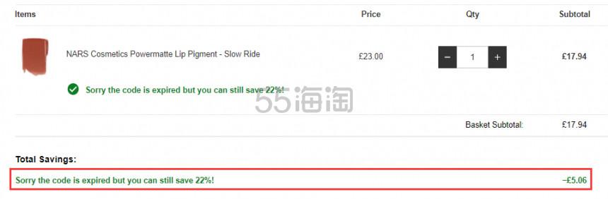 【限时解禁可直邮】NARS 哑光唇釉 Slow Ride有货 £17.94(约159元) - 海淘优惠海淘折扣 55海淘网