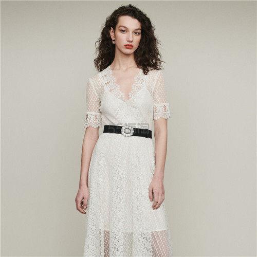 Maje 蕾丝拼接短袖连衣裙 2.5(约1,585元) - 海淘优惠海淘折扣|55海淘网