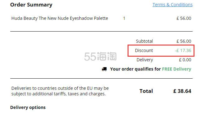 【限时高返】Huda Beauty 裸妆18色眼影盘 £38.62(约338元) - 海淘优惠海淘折扣|55海淘网