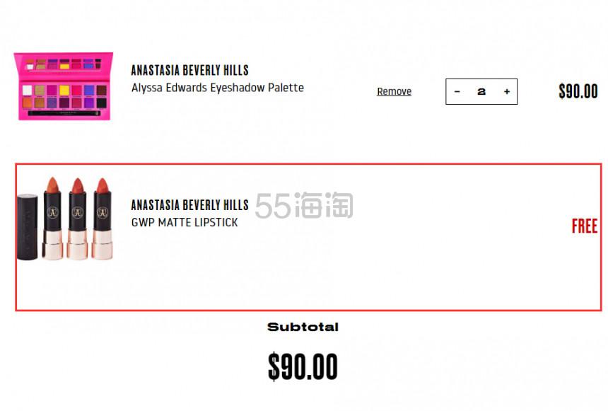 赠同品牌唇膏!ANASTASIA BEVERLY HILLS ABH 眼影盘 ALYSSA EDWARDS (约392元) - 海淘优惠海淘折扣|55海淘网