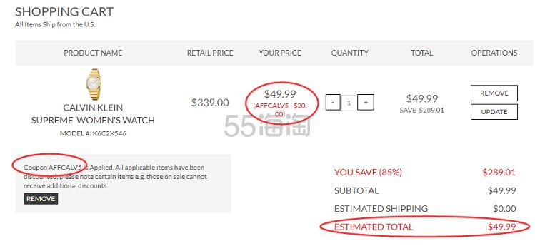 1件美境免邮!Calvin Klein 卡尔文·克雷恩 Supreme 系列 金色圆盘女士时装腕表 K6C2X546 .99(约356元) - 海淘优惠海淘折扣 55海淘网