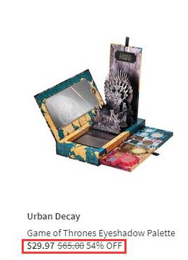 史低价!Urban Decay × 权力的游戏 合作款20色眼影盘 .97(约213元) - 海淘优惠海淘折扣|55海淘网