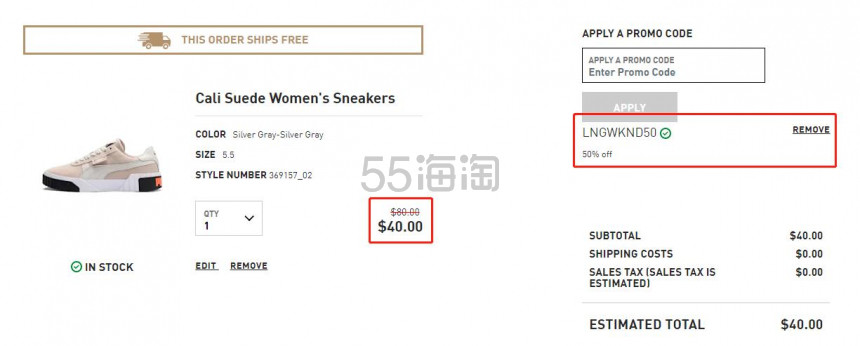 【额外5折】Puma 彪马 Cali Suede 女子板鞋 (约284元) - 海淘优惠海淘折扣|55海淘网