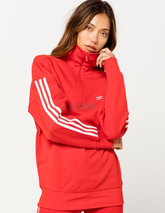 Adidas 阿迪达斯 猩红色半拉链运动衫 .48(约159元) - 海淘优惠海淘折扣|55海淘网