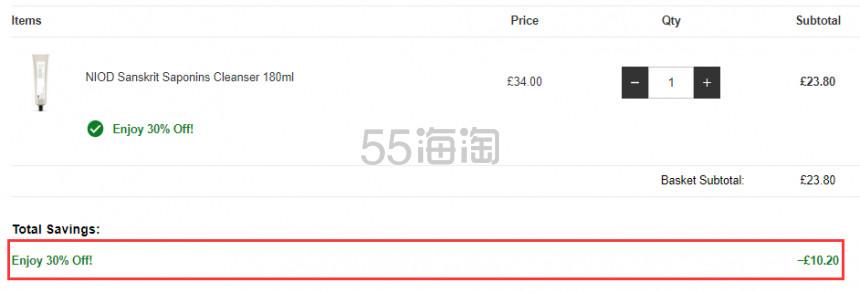 NIOD 植物表活 零毛孔清透洗面奶/洁面乳 180ml £23.8(约213元) - 海淘优惠海淘折扣|55海淘网