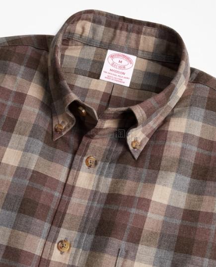【4件仅需9】Brooks Brothers 法兰绒棉格纹衬衫 (约642元) - 海淘优惠海淘折扣 55海淘网