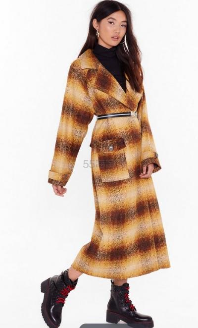 Nasty Gal 格纹长款大衣外套 £57(约507元) - 海淘优惠海淘折扣|55海淘网