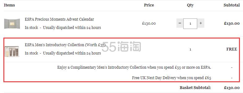 满额送价值£37礼包!ESPA 圣诞倒计时日历礼盒 £130(约1,186元) - 海淘优惠海淘折扣 55海淘网