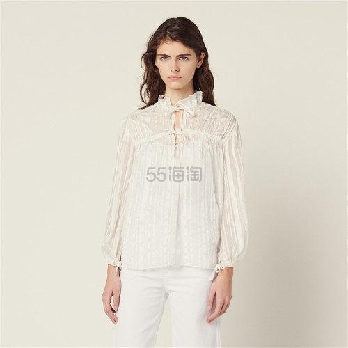 Sandro 褶皱设计花边系带白衬衫上衣 8(约1,040元) - 海淘优惠海淘折扣|55海淘网