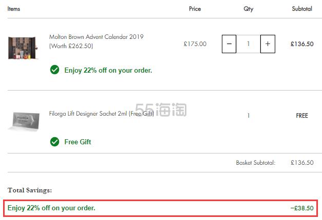 【55周年庆】7.8折随时失效!Molton Brown 圣诞倒计时礼盒 £136.5(约1,245元) - 海淘优惠海淘折扣 55海淘网