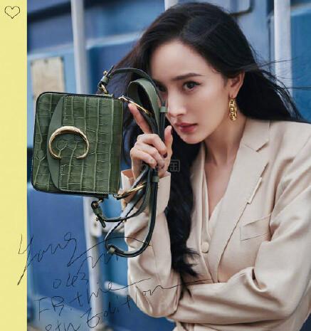 杨幂杂志同款 CHLOÉ C 鳄鱼皮纹理包包