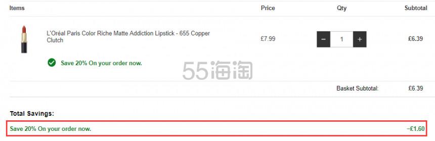 【凑单好物】LOreal Paris 欧莱雅 黑管哑光唇膏 655 £6.39(约58元) - 海淘优惠海淘折扣|55海淘网