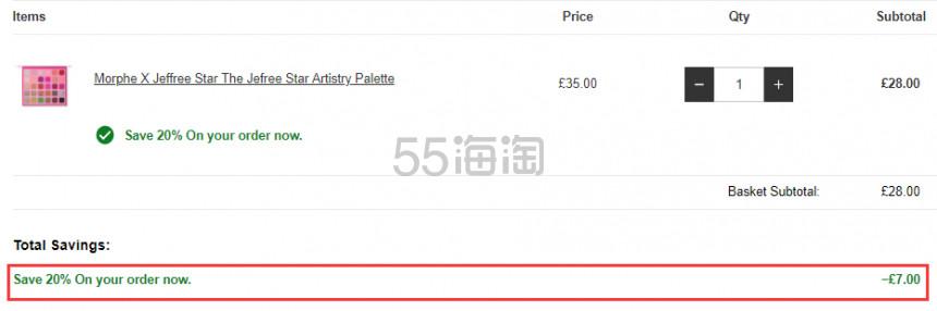 【可直邮】Lookfantastic:Morphe X Jeffree Star J姐合作彩妆产品 8折! - 海淘优惠海淘折扣|55海淘网