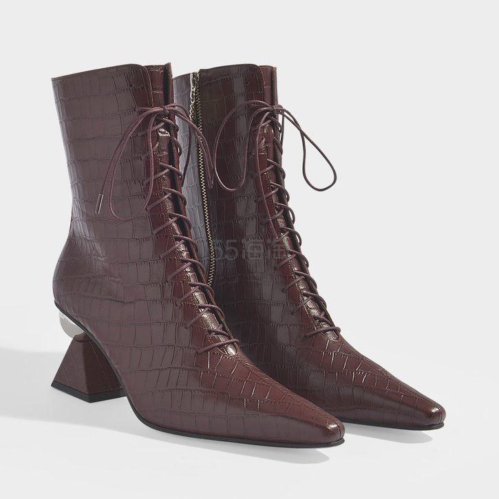 Yuul Yie 个性鞋跟系带尖头中跟短靴