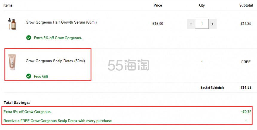 4.7折+赠礼!GROW GORGEOUS 生发防脱精华 60ml £14.25(约131元) - 海淘优惠海淘折扣|55海淘网