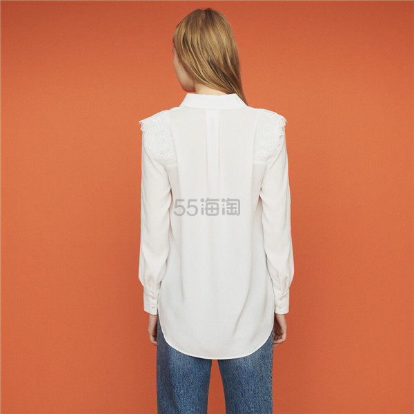 Maje 蕾丝拼接长袖白衬衫 6.5(约1,447元) - 海淘优惠海淘折扣|55海淘网