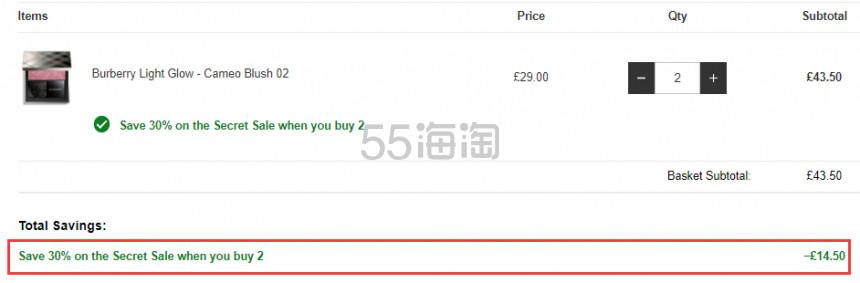 【可直邮】满2件享7.5折!BURBERRY 巴宝莉 自然轻彩腮红 多色可选 £21.75(约197元) - 海淘优惠海淘折扣|55海淘网