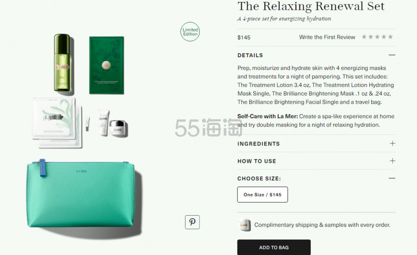 上新!La Mer 海蓝之谜 限定 The Relaxing Renewal 礼包 5(约1,010元) - 海淘优惠海淘折扣|55海淘网
