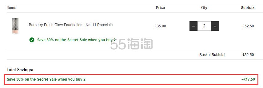 满2件享7.5折!Burberry 巴宝莉 丝柔亮彩粉底液 色号全 £26.25(约239元) - 海淘优惠海淘折扣|55海淘网
