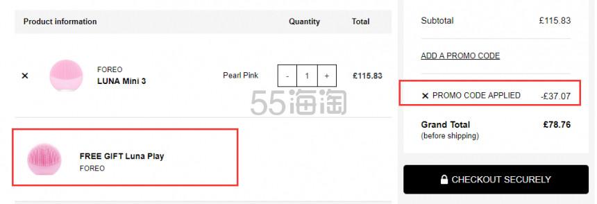 1件免费直邮+送play 洁面仪!FOREO mini 3 迷你3代洁面仪 多色可选 £78.76(约709元) - 海淘优惠海淘折扣|55海淘网