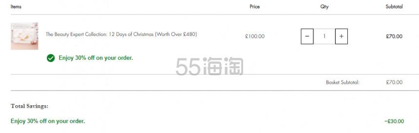 【限时7折】Beauty Expert 圣诞日历倒计时礼盒 £70(约647元) - 海淘优惠海淘折扣|55海淘网