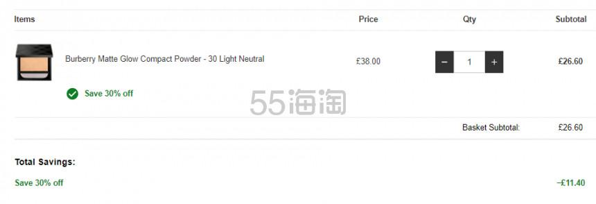 【新品】7折!Burberry 巴宝莉 Matte Glow 柔雾粉饼 £26.6(约240元) - 海淘优惠海淘折扣|55海淘网